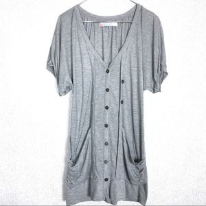 Free People Cloudy Gray Layered Button Up Cardigan